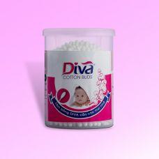 Tăm bông vệ sinh tai thương hiệu Diva dành cho bé hộp tròn 200 que nhựa-DVN200B