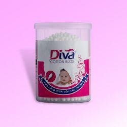Tăm bông vệ sinh tai thương hiệu Diva dành cho bé hộp tròn 200 que nhựa-DVN200B (lốc 6 hộp)