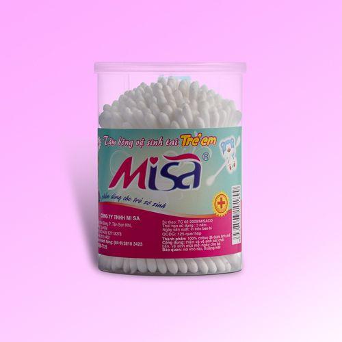 Tăm bông vệ sinh tai dành cho bé thương hiệu MiSa 125 que nhựa-MSN125B (lốc 12 hộp)